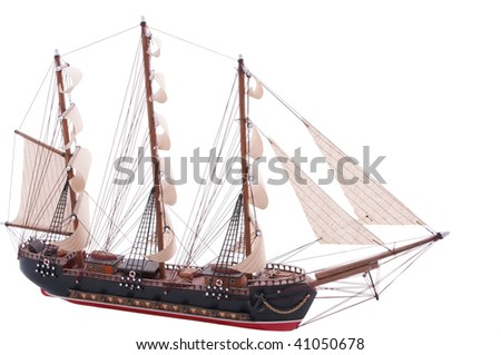 old fully rigged sail ship model on white - stock photo
