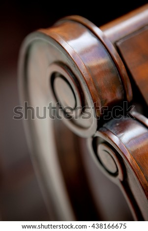 old furniture hand made wooden armchair detail - stock photo