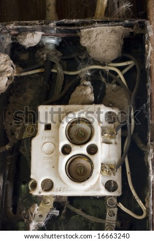 stock photo old fuse box in an abandoned barn with contacts and wires covered by spider webs blowball seeds 16663240 old fuse box problems old fuse box diagram \u2022 indy500 co old fuse box problems at edmiracle.co