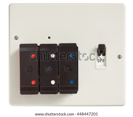 Old Fuse box with cover removed isolated on white with clipping path - stock photo