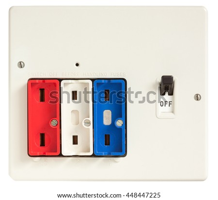 Old Fuse box with fuses removed isolated on white with clipping path - stock photo