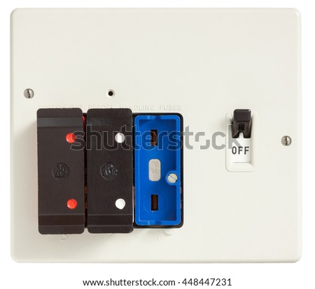 Old Fuse box with one fuse removed isolated on white with clipping path - stock photo