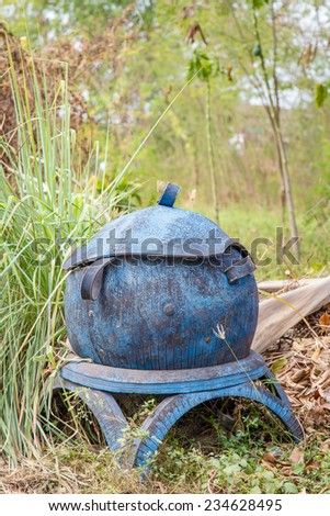old garbage bins - stock photo