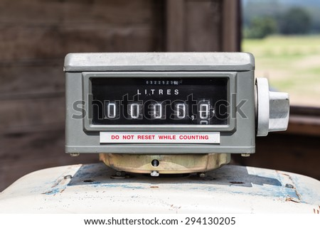 Old gas pump counter zero sale concept for fuel and energy. - stock photo