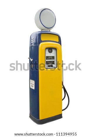 Old gas pump in yellow and blue, isolated - stock photo