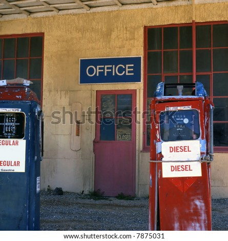 Old gas station in ghost town alongside the Route 66 - stock photo