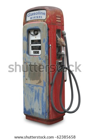 Old gasoline pump for both diesel and gas, isolated with shadow and clipping path - stock photo