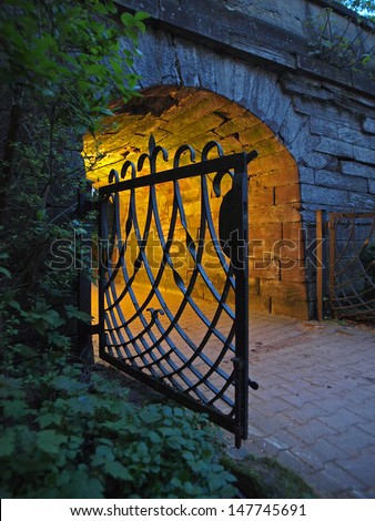 Old gate in evening light