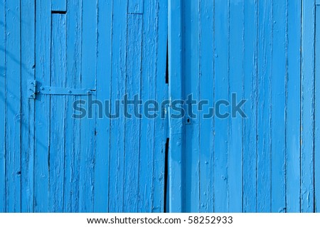 Old gate in wood, blue painted, for background - stock photo