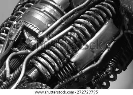 old gear and chain, machinery part background ,Automotive transmission gearbox , internal combustion engine of gears from old mechanism , factory robot