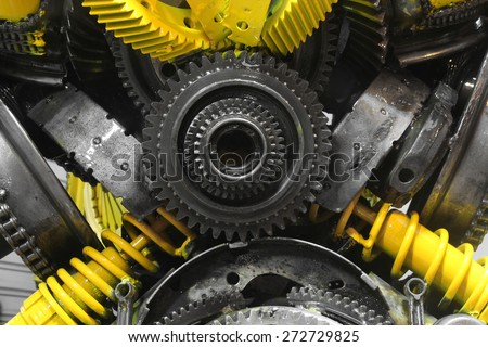 old gear and chain, machinery part background ,Automotive transmission gearbox , internal combustion engine of gears from old mechanism , factory robot - stock photo