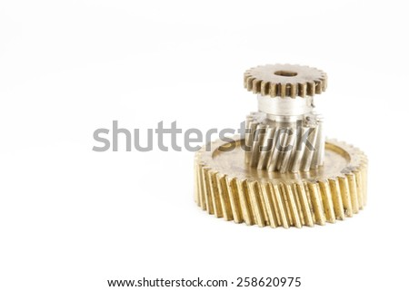 Old gear plastic brass Stainless steel on white background - stock photo