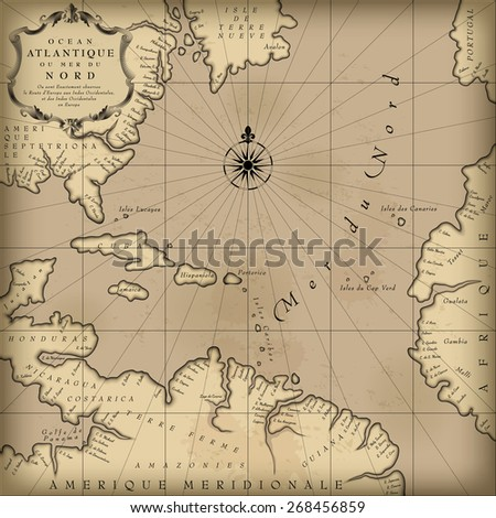 Old geographic map of Atlantic ocean region lands in a free interpretation with text. Vintage chart background - stock photo