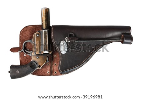 Old German flare gun on a white background