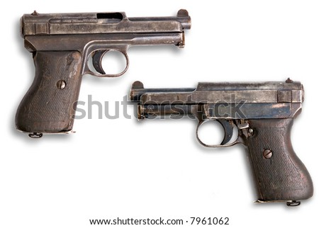 Old german mauser gun 7,65 mm  on white background - stock photo