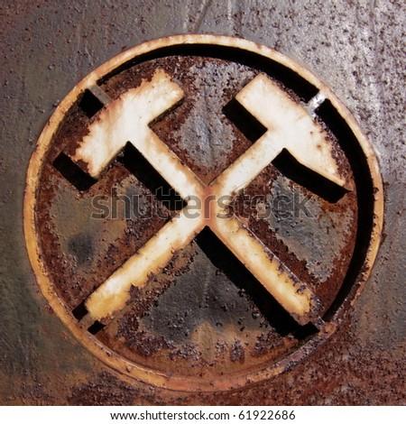 Old German Mining Symbol - stock photo