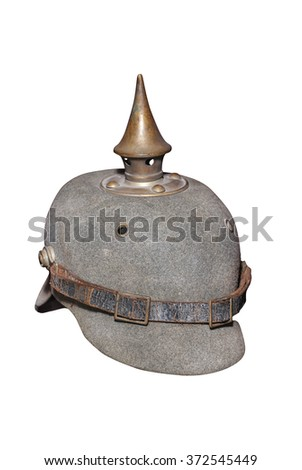 "Old German peaked helm (WWI) so called ""Pickelhaube"". Clipping path on the white background."