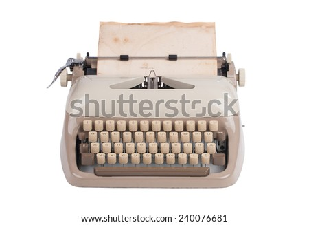 Old german type writer over white background - stock photo