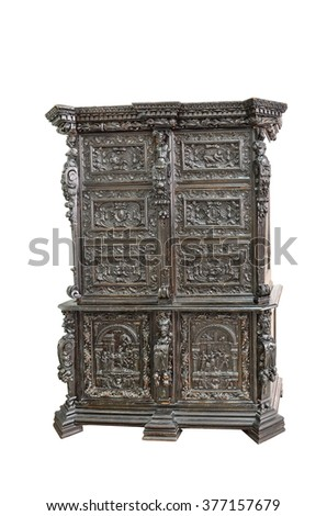 Old German wardrobe of the 18th century. Beautiful craftsmanship example of  engravers on wood.