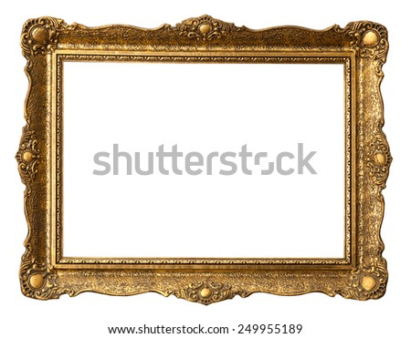 Old gilded golden wooden frame with clipping path. - stock photo