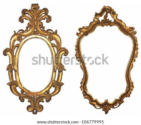 Old gilded wooden frames for mirrors - stock photo