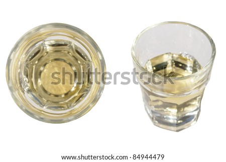 old glass brandy isolated over white background - stock photo