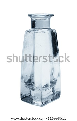 old glass wine bottle on a white background