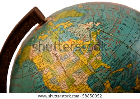 Old Globe Isolated on a Pure White Background - stock photo
