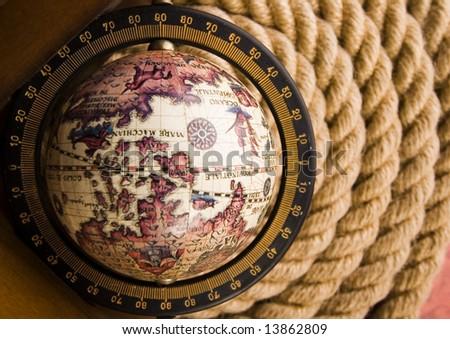 Old globe & Rope - stock photo