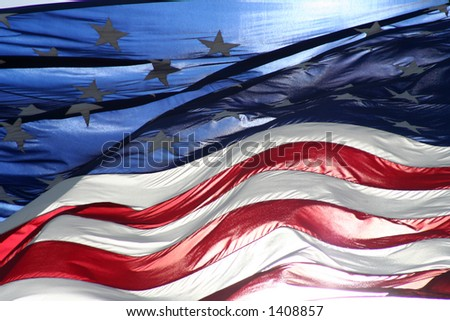 old glory american flag in wind - stock photo