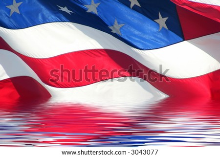 old glory in water - stock photo