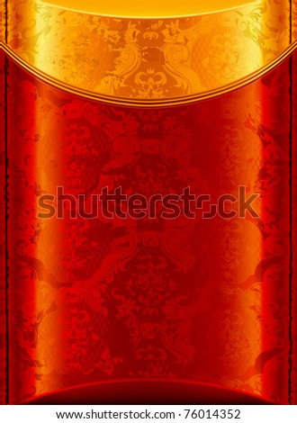 Old Gold and Red background, bitmap copy - stock photo