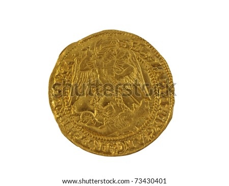 Old gold Angel hammered coin of Elizabeth I minted 1590-1592 showing St Michael slaying dragon, obverse side - stock photo