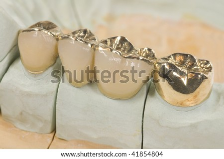 old gold bridge - stock photo
