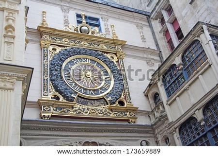 Old gold clock, Ruan, Gros horloge, Rouen, Seine-maritime, Haute-Normandie, France - stock photo