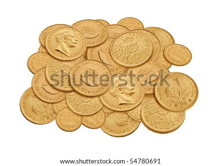old gold coin - stock photo