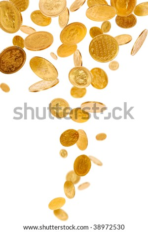 Old gold coins isolated on white background - stock photo