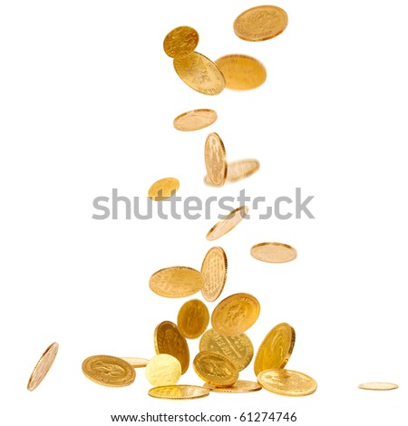 Old gold falling coins isolated on white background - stock photo