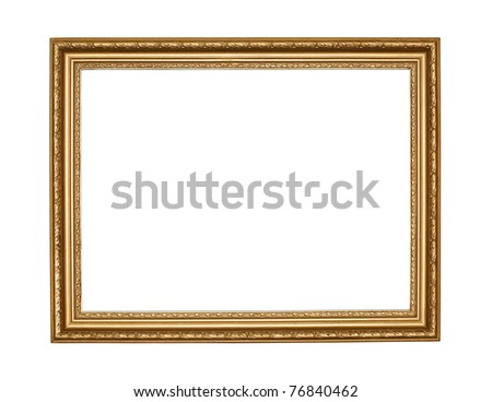 Old gold frame on white background with clipping path - stock photo