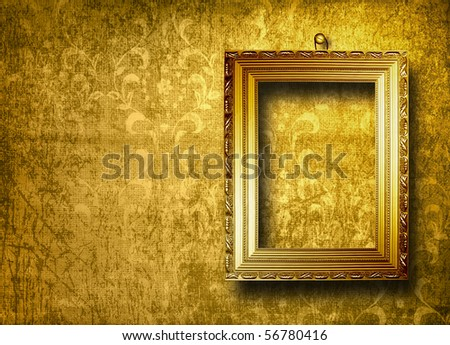Old gold frame Victorian style on the wall in the room - stock photo