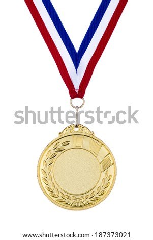 Old gold medal isolated on white background