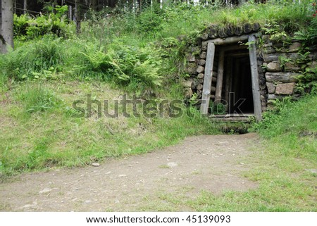 Old gold mine tunnel in golden mountains place in czech republic - stock photo