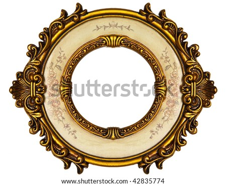 Old Gold Picture Frame on white background - stock photo