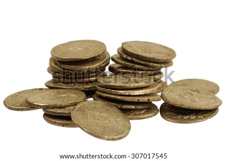 old gold roman coins isolated on white background - stock photo