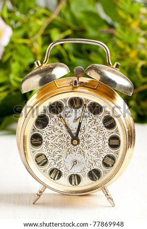 Old golden alarm-clock on white table with green leafs as background - stock photo