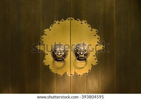 old golden Chinese door. Chinese door. old door. - stock photo