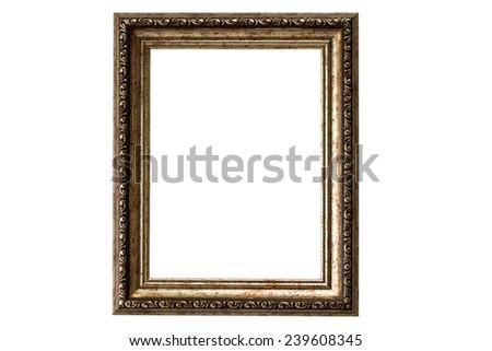 old golden frame. beautiful vintage background - stock photo