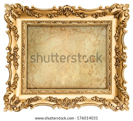 old golden frame with empty grunge canvas for your picture, photo, image. beautiful vintage background
