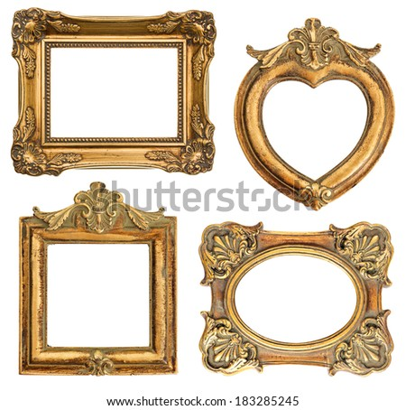 old golden frames for your picture, photo, image. antique object. vintage background - stock photo