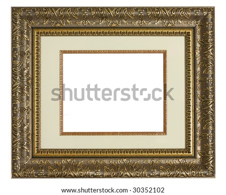 Old golden highly detailed picture frame with matting. - stock photo